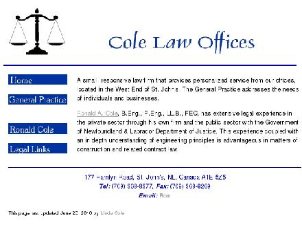 Cole Law Offices (709-368-8377) - Website thumbnail - http://www.colelaw.ca