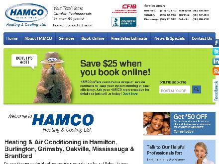 Hamco Heating & Cooling (905-527-1049) - Website thumbnail - http://www.hamco.ca