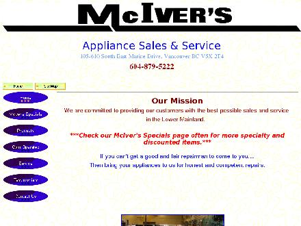 McIver's Coin-Op Washer & Dryer Leasing (604-873-5812) - Onglet de site Web - http://www.mcivers.biz