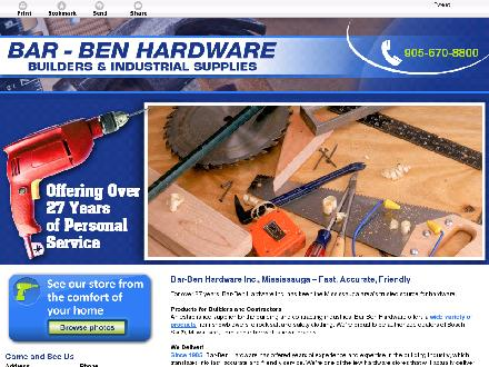 Bar-Ben Hardware Inc (905-670-8800) - Website thumbnail - http://barbenhardware.com/