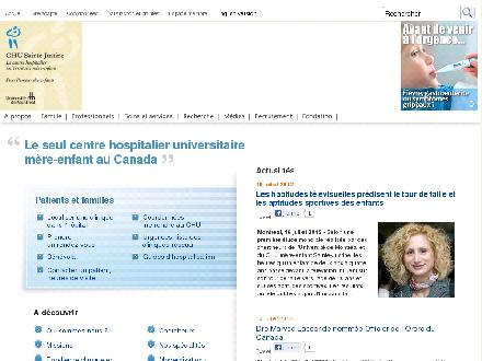 Centre Hospitalier Universitaire Sainte-Justine (514-345-4931) - Onglet de site Web - http://www.chu-sainte-justine.org