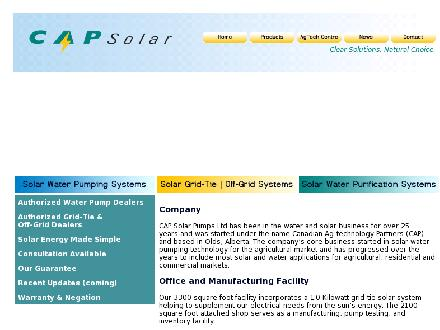 Cap Solar Pumps Ltd (403-556-8779) - Website thumbnail - http://www.capsolar.com