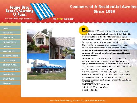 Jeune Bros Tent &amp; Awning Ltd (250-419-0853) - Onglet de site Web - http://jeunebros.com
