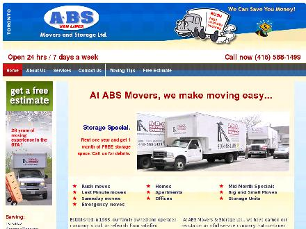 A ABS Movers & Storage Ltd (647-931-9339) - Onglet de site Web - http://www.absmovers.ca
