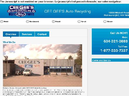 Ceegee's Auto Recycling (604-321-0888) - Website thumbnail - http://ceegeesautorecycling.com/
