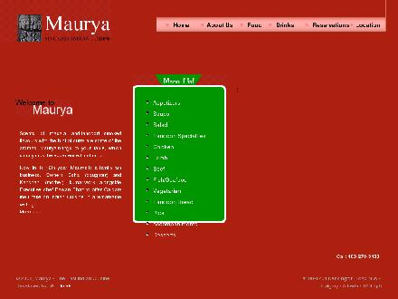 Maurya Authentic East Indian Cuisine (403-270-3133) - Website thumbnail - http://www.maurya-restaurant.com