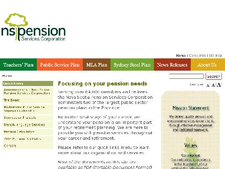 Nova Scotia Pension Agency (1-800-774-5070) - Onglet de site Web - http://www.novascotiapension.ca