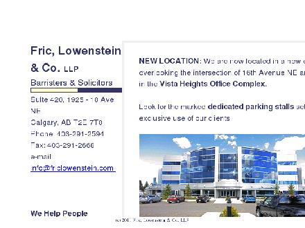 Fric Lowenstein & Co LLP (403-291-2594) - Website thumbnail - http://www.friclowenstein.com