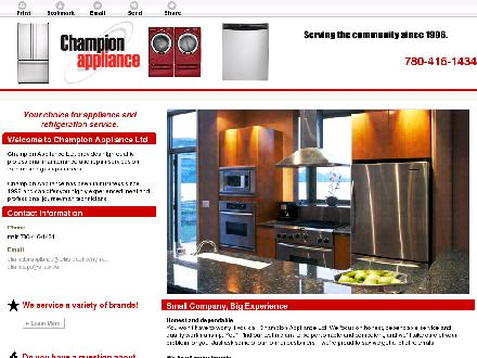 Champion Appliance Ltd (780-416-1434) - Onglet de site Web - http://www.championapplianceltd.com