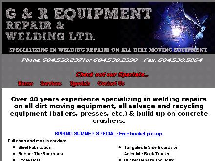 G & R Equipment Repair & Welding Ltd (604-530-2371) - Onglet de site Web - http://www.grequipmentwelding.com