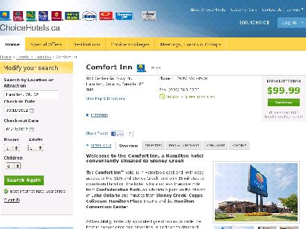Comfort Inn Hamilton (905-560-4500) - Onglet de site Web - http://www.choicehotels.ca/cn268