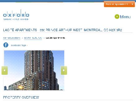 Appartements LaCit&eacute; (514-845-4173) - Onglet de site Web - http://www.lacite.com