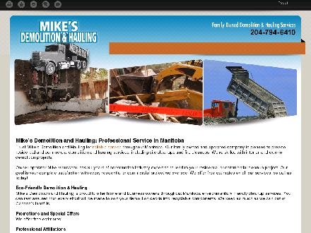 Mike's Demolition and Hauling (204-794-6410) - Onglet de site Web - http://mikesdemolition.ca/