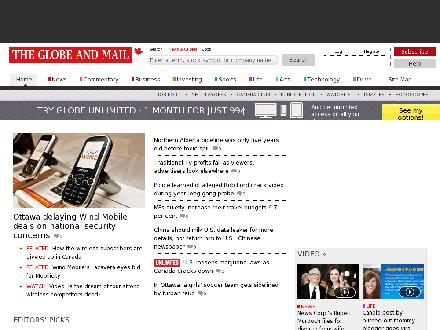 The Globe And Mail Home Delivery Subscriptions (1-800-387-5400) - Website thumbnail - http://www.theglobeandmail.com