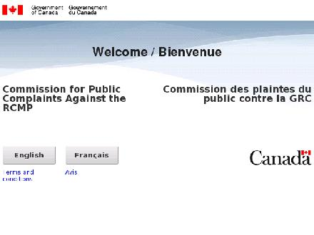 COMMISSION FOR PUBLIC COMPLAINTS AGAINST THE RCMP (1-800-665-6878) - Website thumbnail - http://www.cpc-cpp.gc.ca