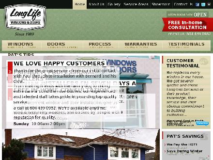 Long Life Windows & Doors (604-439-0982) - Website thumbnail - http://www.longlife.ca