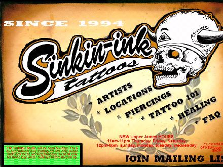 Sinkin' Ink Tattoos (905-777-9335) - Website thumbnail - http://www.sinkin-ink.com