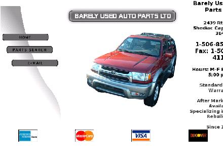 Barely Used Auto Parts Ltd (1-888-519-3419) - Onglet de site Web - http://www.barelyused.ca