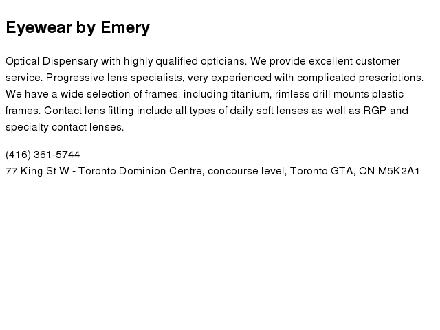 Eyewear By Emery (416-361-5744) - Website thumbnail - http://www.eyewearbyemery.ca