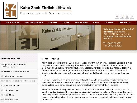 Kahn Zack Ehrlich Lithwick (604-270-9571) - Website thumbnail - http://www.kzellaw.com