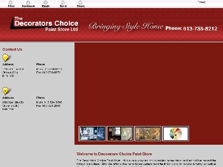 Decorators Choice Paint Store Ltd (613-736-8212) - Onglet de site Web - http://thedecoratorschoicepaintanddecor.ca