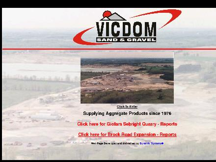 Vicdom Sand &amp; Gravel (Ontario) Ltd (905-649-2193) - Onglet de site Web - http://www.vicdom.com