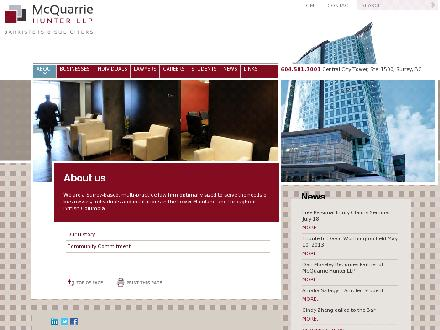 McQuarrie Hunter LLP (604-581-7001) - Website thumbnail - http://www.mcquarrie.com/about