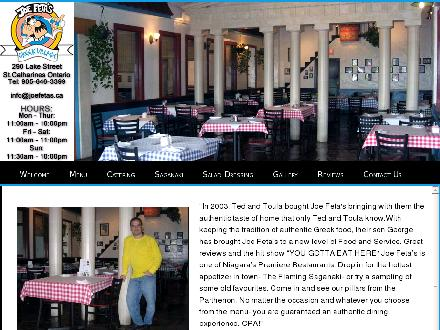 Joe Feta's Greek Village (905-646-3399) - Onglet de site Web - http://www.joefeta.com