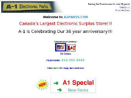 A-1 Electronic Parts (416-255-0343) - Website thumbnail - http://www.a1parts.com