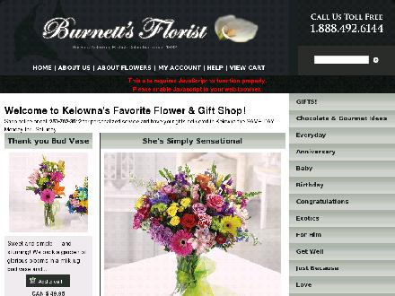 Burnett's Florist (250-762-3512) - Website thumbnail - http://www.kelownaflorist.com