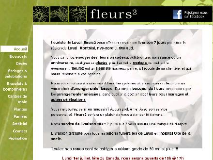 Fleurs 2 (450-575-7317) - Onglet de site Web - http://www.fleurs2.com