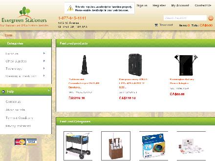 Evergreen Stationers (780-645-4141) - Onglet de site Web - http://www.evergreenstationers.ca