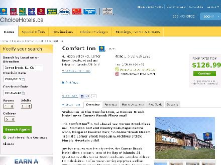 Comfort Inn Corner Brook (709-639-1980) - Website thumbnail - http://www.choicehotels.ca/cn245