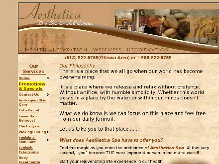 Aesthetica Day Spa (613-822-6755) - Website thumbnail - http://www.aestheticaspa.ca/