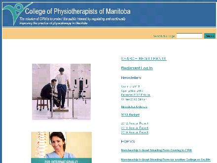 College Of Physiotherapists Of Manitoba (204-287-8502) - Onglet de site Web - http://www.manitobaphysio.com