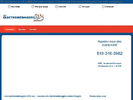 Electro-M&eacute;nagers R V S Inc (Les) (819-346-3982) - Onglet de site Web - http://electromenagersrvs.ca/