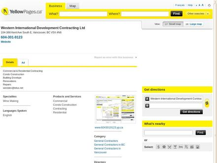 Western International Development Contracting Ltd (604-301-9123) - Onglet de site Web - http://www.6043019123.yp.ca