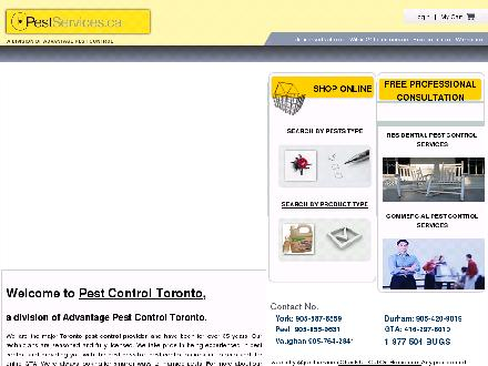 Advantage Pest Control Inc (416-297-8010) - Onglet de site Web - http://www.pestservices.ca