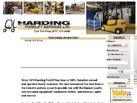 Harding Forklift Services Ltd (1-877-217-9460) - Onglet de site Web - http://www.hardingforklift.com