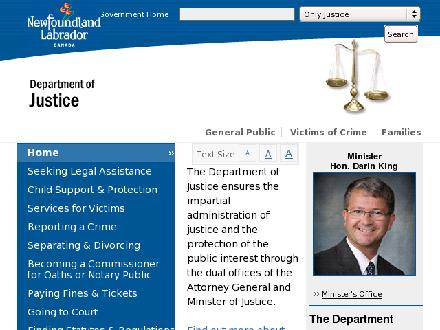 Justice (729-2880) - Website thumbnail - http://www.gov.nl.ca/just