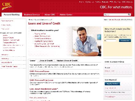 CIBC (1-866-525-8622) - Website thumbnail - https://www.cibc.com/ca/loans/index.html