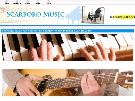 Scarboro Music Co Ltd (416-699-8333) - Onglet de site Web - http://scarboromusic.com