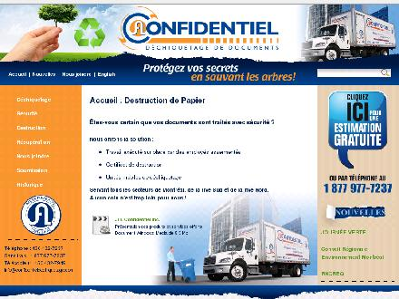Confidentiel Déchiquetage De Documents Inc (1-877-977-7237) - Onglet de site Web - http://www.confidentieldechiquetage.com