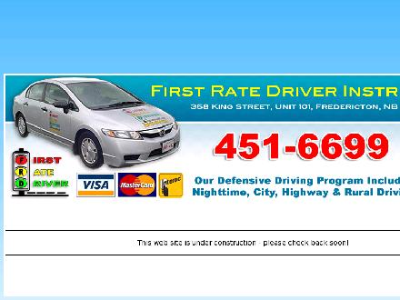 First Rate Driver Instruction (506-451-6699) - Website thumbnail - http://www.firstratedriver.ca