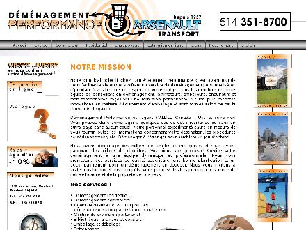 Transport Arsenault (514-376-5100) - Onglet de site Web - http://www.demenagementperformance.com