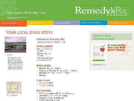 Coleman Remedy's RX (403-563-3242) - Website thumbnail - http://www.remedys.ca/coleman