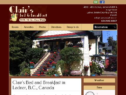 Clair's Bed & Breakfast Ladner Village (604-940-8867) - Website thumbnail - http://www.clairsinnladner.com