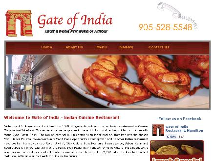 Gate Of India (905-528-5548) - Onglet de site Web - http://www.gateofindia.ca