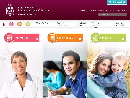 Royal College Of Dental Surgeons Of Ontario (1-800-565-4591) - Onglet de site Web - http://www.rcdso.org
