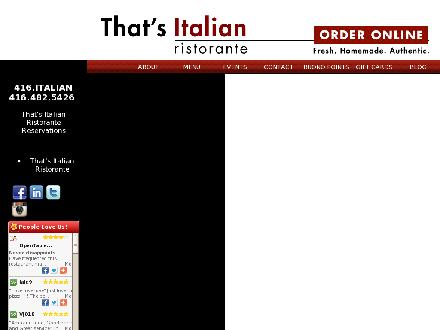 That`s Italian Restaurant & Catering (416-482-5426) - Website thumbnail - http://www.ThatsItalian.ca